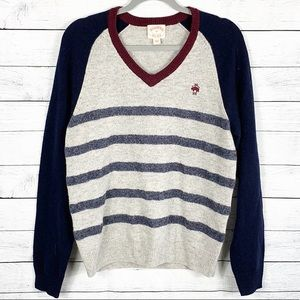 Brooks Brothers V Neck Striped Lambswool Sweater